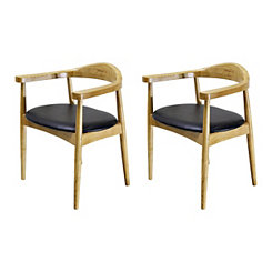 Faux Leather Natural Accent Chairs, Set of 2