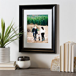 White Matted to Solid Black Picture Frame, 8x10
