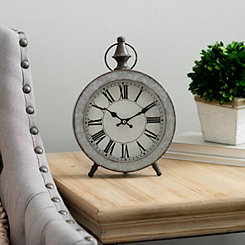 Galvanized Metal Round Tabletop Clock