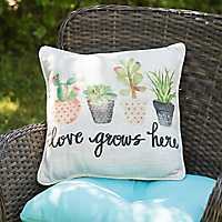 Love Grows Here Cactus Pillow