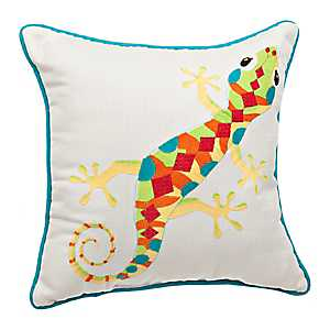Embroidered Gecko Pillow