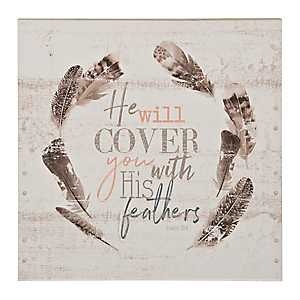 He Will Cover You Wood Wall Plaque