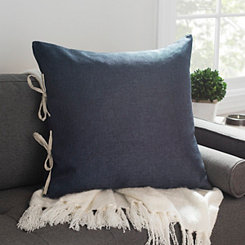 Solid Navy Pillow with Contrast Ties
