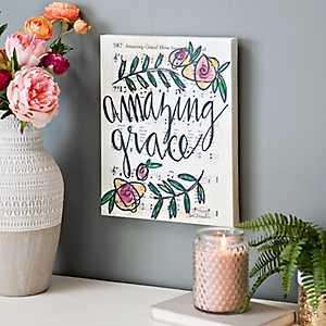 Amazing Grace Floral Music Canvas Art Print