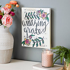 Amazing Grace Floral Music Canvas Art Print