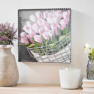 Tulips Floral Framed Wood Plaque