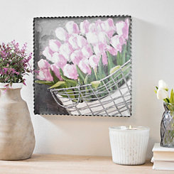 Tulips Floral Framed Wood Plaque