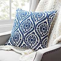 Navy Chainstitch Embroidered Pillow