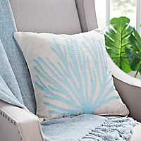 Blue Coral Linen Pillow