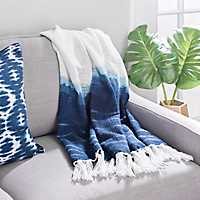 Blue Shibori Border Knit Throw