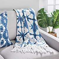 Blue Shibori Lattice Knit Throw