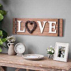 Love Wreath Wood Plaque