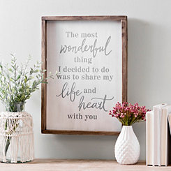 Share My Life & Heart Wood Frame Plaque