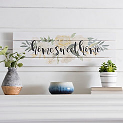 Home Sweet Home Floral Wood Plaque