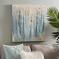 Blue and Gold Abstract Canvas Art Print