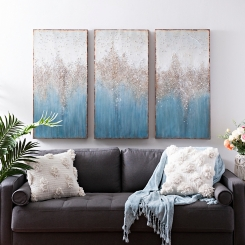 Turquoise Crystal Canvas Art Prints, Set of 3