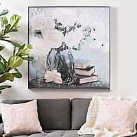 Flower Bouquet with Books Framed Canvas Art Print
