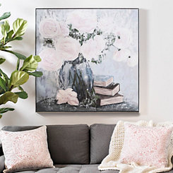 Flower Bouquet with Books Framed Canvas Art Print