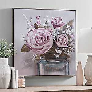 Blooming Blush Framed Canvas Art Print