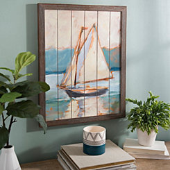 Sailboat on Wood Plank Framed Art Print