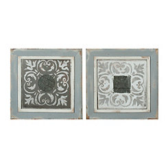 Moroccan Tile Shadowboxes, Set of 2