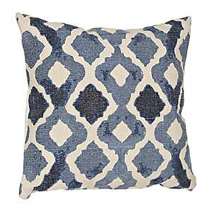 Blue Quatrefoil Cotton Pillow