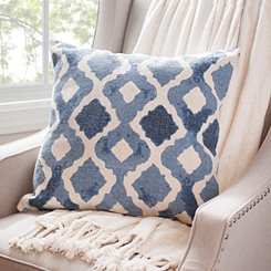 Blue Quatrefoil Cotton Pillow