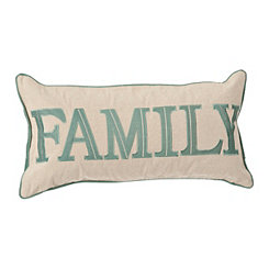 Family Embroidered Teal Accent Pillow