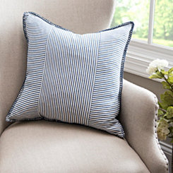 Blue Striped Whipstitch Pillow