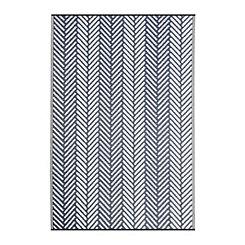 Navy Chevron Stripe Outdoor Rug, 5x8