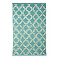 Blue Trellis Patterned Outdoor Rug