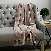 Birch Tan Chenille Throw Blanket