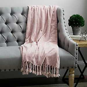 Blush Pink Chenille Throw Blanket