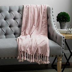 Blush Pink Chenille Throw Blanket