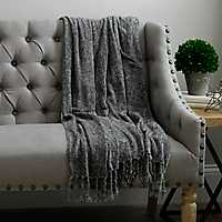 Charcoal Gray Chenille Throw Blanket