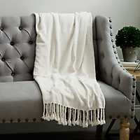 Cream Chenille Throw Blanket