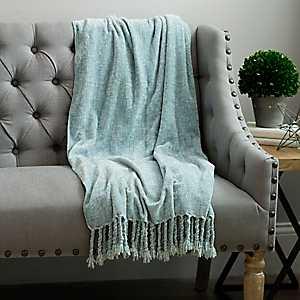 Mermaid Blue Chenille Throw Blanket