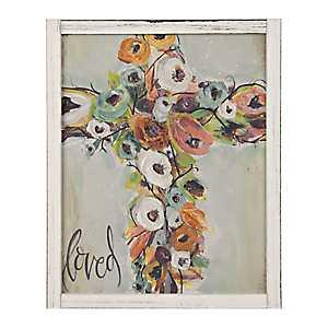 Floral Cross Loved Framed Art Print