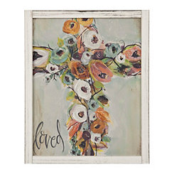 Floral Cross Loved Framed Art Print