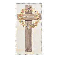 Amazing Love Floral Cross Framed Wood Plaque