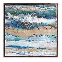 Seaside Waves Abstract Framed Canvas Art Print