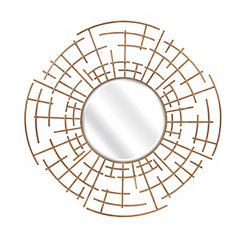 Estaire Dimensional Gold Round Wall Mirror