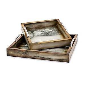 Trisha Yearwood Marly Wood Trays, Set of 2
