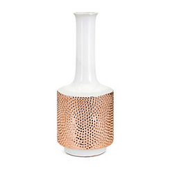 Large Tannia Two-Tone White and Gold Ceramic Vase