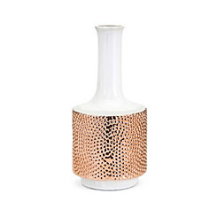 Small Tannia Two-Tone White and Gold Ceramic Vase