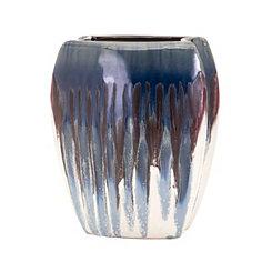 Small Hamako Blue Drip Glaze Ceramic Vase