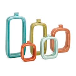 Colorful Warlow Ceramic Vases, Set of 5