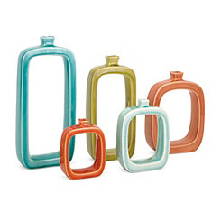 Colorful Warlow Ceramic Vases, Set of 5