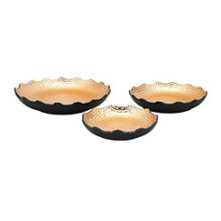 Nova Black and Gold Shallow Bowls, Set of 3