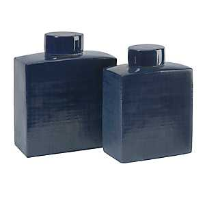 Blue Wilfred Ceramic Canisters, Set of 2